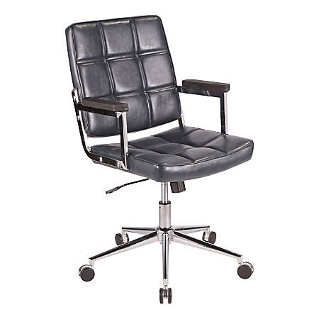 LumiSource Bureau Contemporary Faux Leather Office Chair, Navy/Chrome