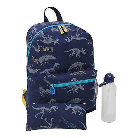 "Jetstream™ 3-Piece Dino Backpack Kit With 15.5"" Laptop Pocket, Blue"