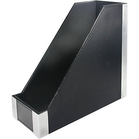 Artistic Architect Line Magazine File - Black, Brushed Aluminum - Brushed Metal - 1 Each