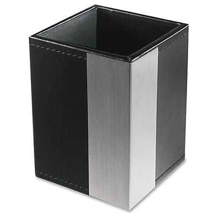 Artistic Architect Line Pencil Cup - Vertical - Aluminum, Leather, Metal - 1 Each - Black