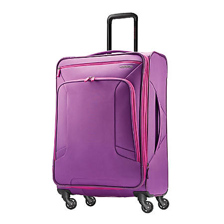 "American Tourister® 4 KIX Rolling Spinner, 24 1/4""H x 17""W x 9 1/2""D, Purple/Pink"