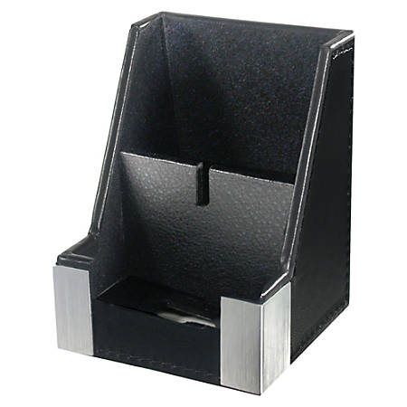 Artistic Architech Line Cell Phone Holder - Aluminum, Leather - 1 Each - Black