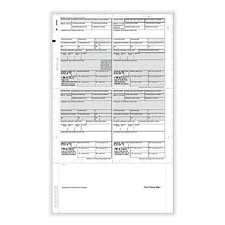 """ComplyRight™ W-2 Tax Forms, With Pressure Seal, Employee Copy B, C And 2, 4-Up Box Format, 8-1/2"""" x 14"""", Pack Of 500 Forms"""