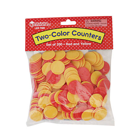"""Learning Resources® 2-Color Counters, 1"""", Red/Yellow, Grades K - 9, 200 Counters Per Set, Pack Of 2 Sets"""