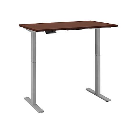 "Bush Business Furniture Move 60 Series 48""W x 30""D Height Adjustable Standing Desk, Harvest Cherry/Cool Gray Metallic, Premium Installation"