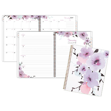 """Cambridge® Weekly/Monthly Planner, 8 1/2"""" x 11"""", Mina, January 2019 to December 2019"""