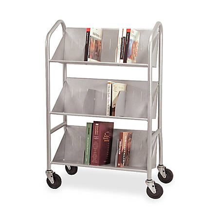 """Buddy Slope-Shelf Cart With Dividers, 41 1/2""""H x 26""""W x 16""""D, Silver"""