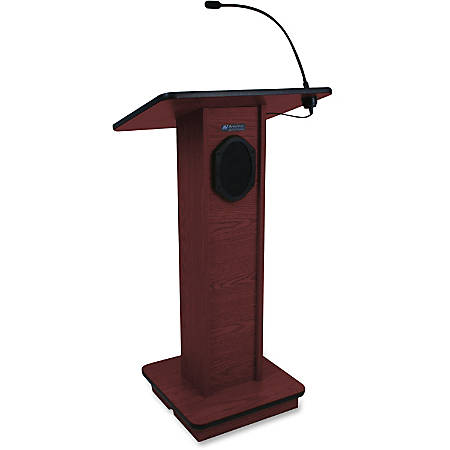 """AmpliVox Sound System Elite Lectern - Rectangle Top - 24"""" Table Top Width x 18"""" Table Top Depth - 45"""" Height x 21"""" Width x 15"""" Depth - Assembly Required - Clear Lacquer, Mahogany"""