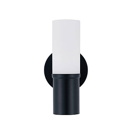 """Southern Enterprises Galletti Indoor Wall Sconce, 10""""H, White Shade/Black Base"""