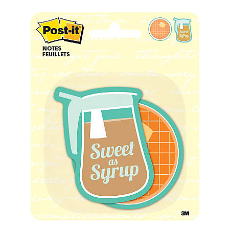 """Post-it® Notes Die-Cut Notes, 3"""" x 3"""", Waffle And Syrup, Pack Of 2 Pads"""