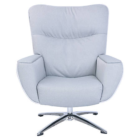 Lorell® Argyle Lounge Fabric Swivel Chair, Gray