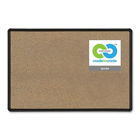 "Balt® 50% Recycled Splash Cork Board, 48"" x 36"", Black Frame"