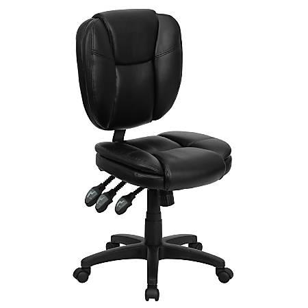 Flash Furniture Leather Mid-Back Multifunction Ergonomic Swivel Task Chair, Black