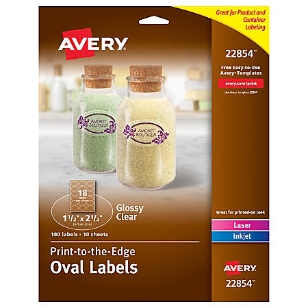 Avery Easy Peel Print To The Edge Glossy Oval Labels 22854 1 12 X 2