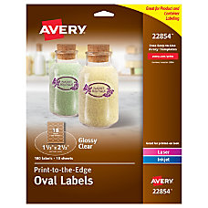Avery Glossy Clear Oval Labels Sure