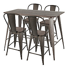 LumiSource Oregon Table With 4 Stools