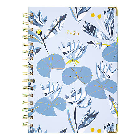 """Cambridge® Lillian Farag Water Lilies Weekly/Monthly Hardcover Planner, 5-1/2"""" x 8-1/2"""", Multicolor, January to December 2020, 6326-200"""