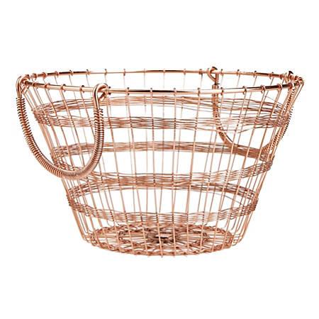"""Mind Reader Round Basket With Handles, 7-1/2""""H x 11""""W x 11""""D, Gold"""