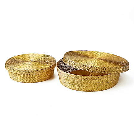 """Mind Reader Storage Basket Organizer With Large And Small Baskets, 2-3/4""""H x 10""""W x 10""""D, Gold"""