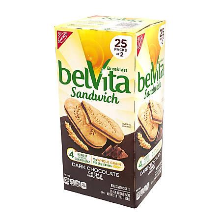Belvita Dark Chocolate Crème Breakfast Sandwiches, 1.76 Oz, 2 Per Pack, Box Of 25 Packs
