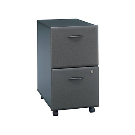 "Bush Business Furniture Office Advantage 15-7/10""W Lateral 2-Drawer Mobile Pedestal Cabinet, White Spectrum/Slate, Standard Delivery Service"