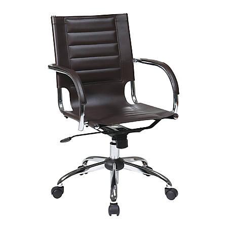 Ave Six Trinidad Vinyl Mid-Back Office Chair, Espresso/Silver
