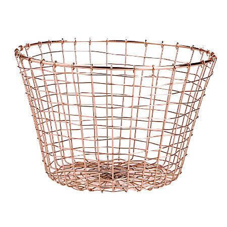 """Mind Reader Round Basket, 7""""H x 11-1/4""""W x 11-1/4""""D, Gold"""