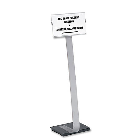 "Durable Info Sign Duo Floor Sign Stand, 46 1/2""H x 11""W x 11 1/2""D, Black/Silver"