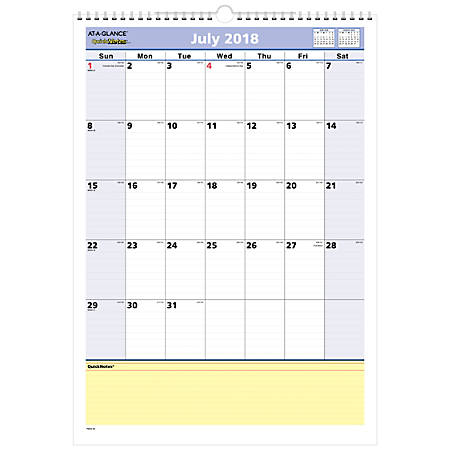 "AT-A-GLANCE® QuickNotes® Monthly Academic Wall Calendar, 12"" x 17"", 30% Recycled, July 2018 to July 2019"