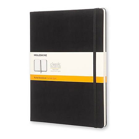 """Moleskine Classic Hard Cover Notebook, 7-1/2"""" x 10"""", Ruled, 192 Pages (96 Sheets), Black"""