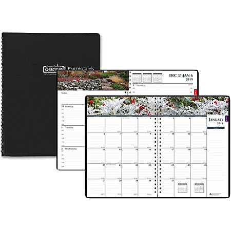 "House of Doolittle Earthscapes Gardens Weekly Monthly Planner - Yes - Weekly, Monthly - 1 Year - January 2019 till December 2019 - 8:00 AM to 5:00 PM - 7"" x 10"" - Wire Bound - Paper - Black - Non-refillable"