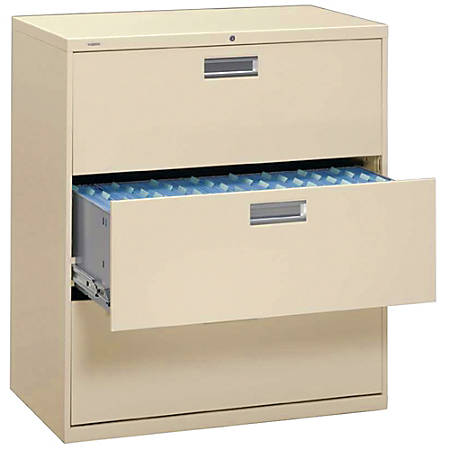 """HON® Brigade® 600 Series Lateral File, 3 Drawers, 40 7/8""""H x 42""""W x 19 1/4""""D, Putty"""