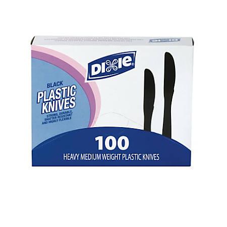 Dixie® Medium-Weight Utensils, Knives, Black, Box Of 100