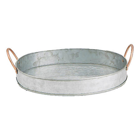 """Mind Reader Oval Serving Tray, 3-3/4""""H x 13""""W x 11""""D, Silver"""