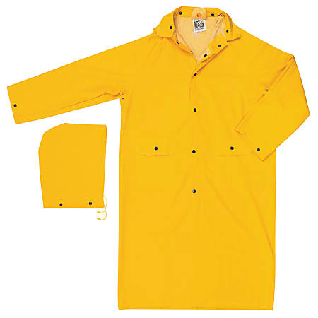 Classic Rain Coat, Detachable Hood, 0.35 mm PVC/Poly, Yellow, 49 in 3X-Large