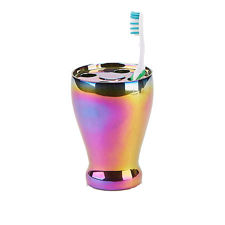 Mind Reader Iridescent Toothbrush Holder, Multicolor