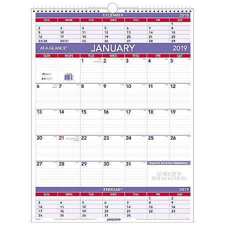 """AT-A-GLANCE® 3-Month Monthly Wall Calendar, 22"""" x 29"""", January to December 2019"""