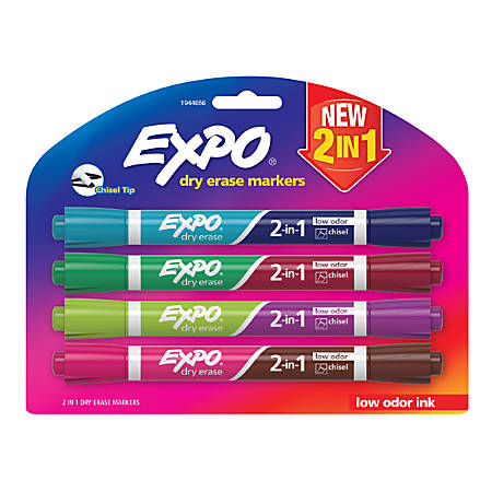 EXPO® 2-in-1 Double-Sided Dry Erase Markers, Chisel Point, Assorted Colors, Pack Of 4