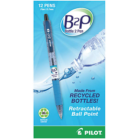 """Pilot® B2P """"Bottle To Pen"""" Retractable Ballpoint Pens, Fine Point, 0.7 mm, 86% Recycled, Translucent Blue Barrels, Black Ink, Pack Of 12"""