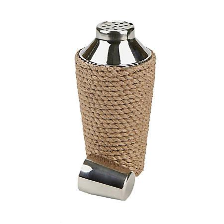 Mind Reader Cocktail Shaker, 24 Oz, Rope Design, Silver/Brown