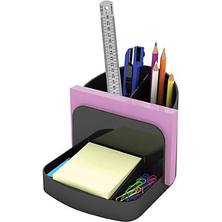 "Deflecto Sustainable Office Desk Caddy - 5"" Height x 5.4"" Width x 6.8"" Depth - Desktop, Shelf - Recycled - Black - Plastic - 1Each"