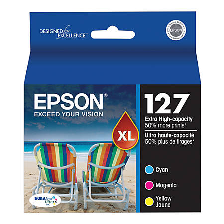 Epson® 127 DuraBrite® Ultra Tricolor Ink Cartridges (T127520-S), Pack Of 3