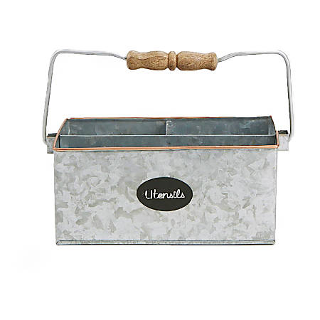 """Mind Reader Wood/Galvanized Metal 3-Compartment Utensil Caddy, 9-1/4""""H x 9-1/4""""W x 5""""D, Silver"""