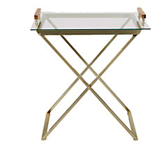 Mind Reader MetalGlass Table With Removable