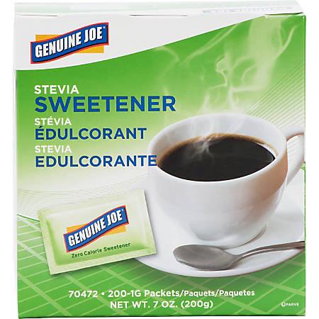 Genuine Joe Stevia Natural Sweetener Packets - 0 lb (0 oz) - Natural Sweetener - 200/Box
