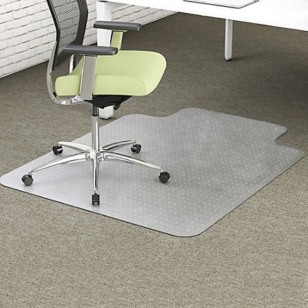 "Deflecto EnvironMat for Carpet - Carpet - 60"" Length x 46"" Width - Lip Size 25"" Length x 12"" Width - Rectangle - Textured - Polyethylene Terephthalate (PET) - Clear"