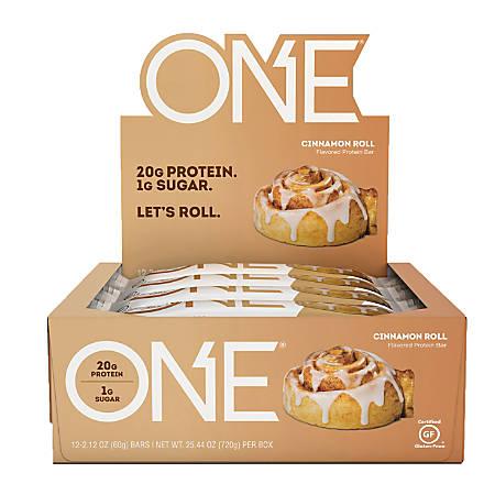 ONE Cinnamon Roll Protein Bars, 2.12 Oz, Box Of 12 Bars
