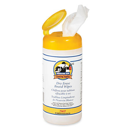 Genuine Joe Dry-Erase Board Cleaning Wipes, Container Of 50 Wipes