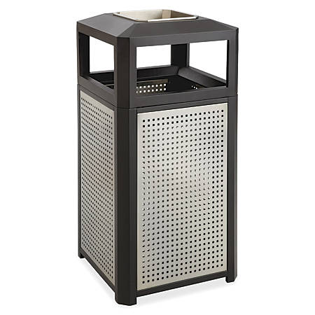 Safco® Evos Square Side-Open Steel Waste Receptacle With Ashtray, 15-Gallon Capacity, Black/Gray