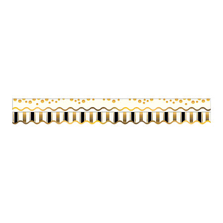 "Barker Creek Scalloped-Edge Double-Sided Borders, 2 1/4"" x 36"", Gold Coins, Pack Of 13"